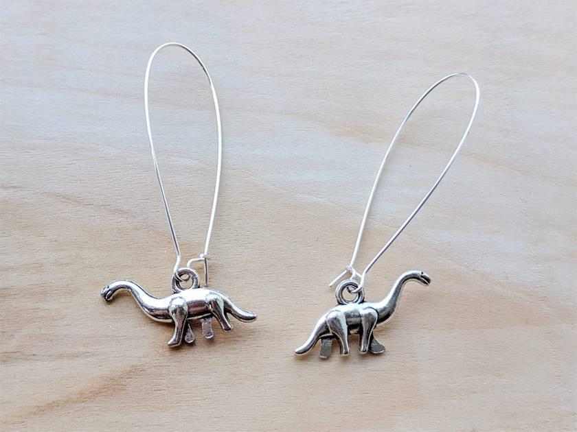 Groovy dinosaur silver earrings