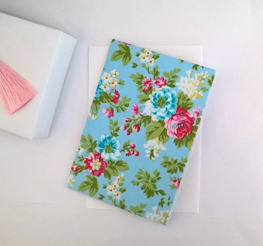 Floral Fabric Covered Greeting Card