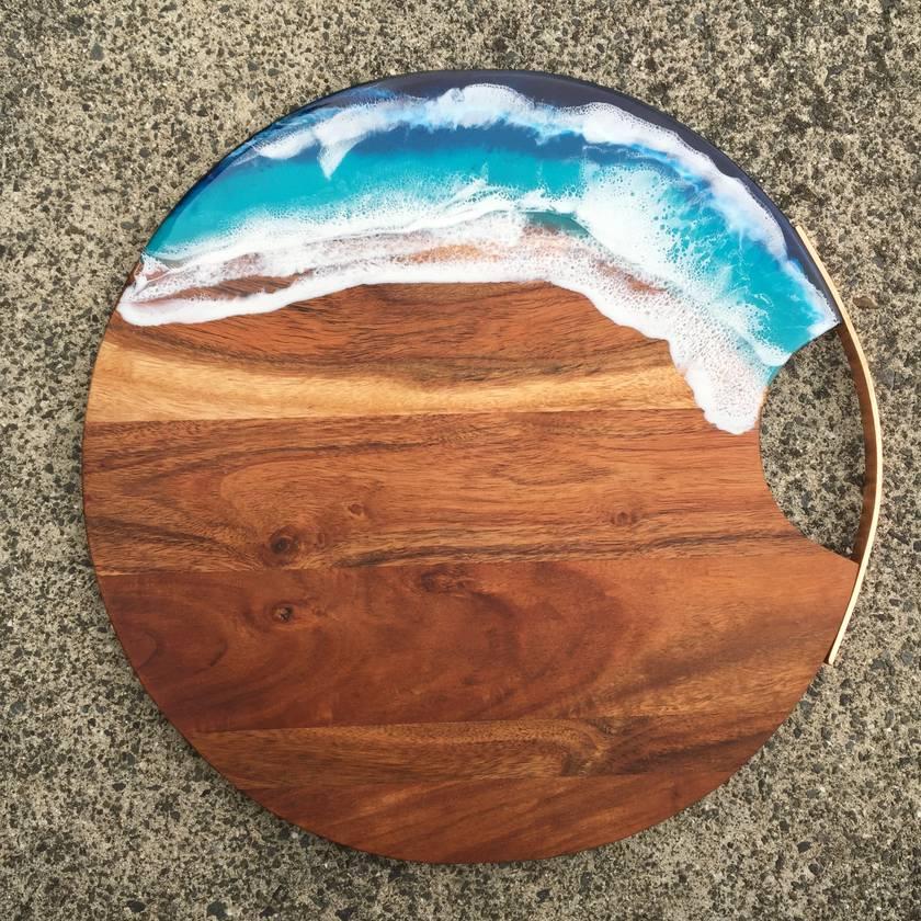 Beach theme copper handle serving board