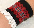 Tartan Cuff Bracelet, Black & Red