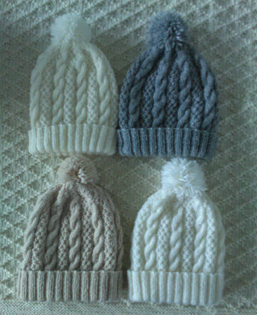 100% Merino  Cabled Beanies - 3-6 months