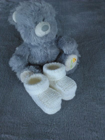 100% Merino Hand Knitted Booties 0-3 Months White