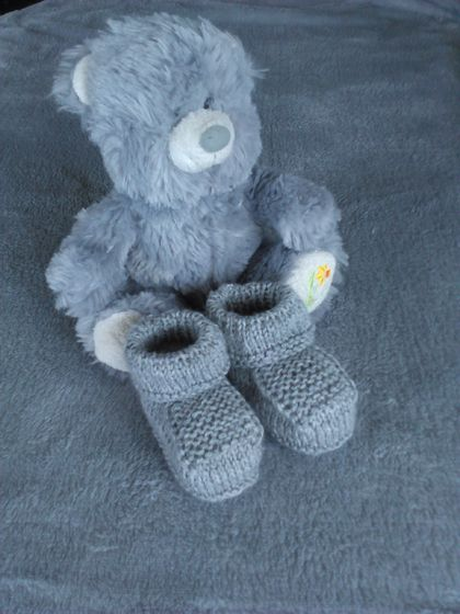 100% Merino Hand Knitted Booties 0-3 Months Silver