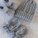 Knitted Merino Beanie/Booties & Mitts 0-3 Months