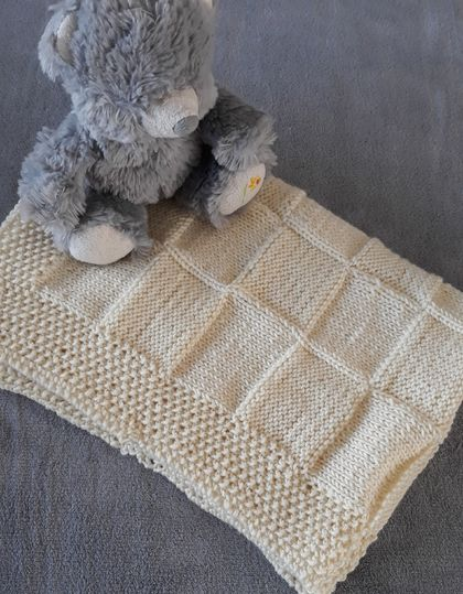 100% Merino Hand Knitted Baby Blanket -Cream