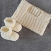 100% Merino Hand Knitted Singlet & Booties 0-3 Months- Cream