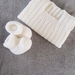 100% Merino Hand Knitted Singlet & Booties 0-3 Months- White