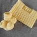 100% Merino Hand Knitted Singlet & Booties 0-3 Months- lemon
