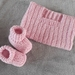 100% Merino Hand Knitted Singlet & Booties 0-3 Months- Dusky Pink