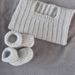 100% Merino Hand Knitted Singlet & Booties 0-3 Months- light grey