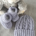 100% Merino Hand Knitted Beanie & Booties 0-3 Months