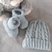 100% Merino Hand Knitted Beanie & Booties 0-3 Months- bluey grey
