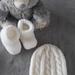 100% Merino Hand Knitted Beanie & Booties 0-3 Months- white