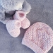 Hand knitted Merino Hat & Booties-0-3 Months