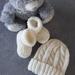 100% Merino Hand Knitted Beanie & Booties 0-3 Months- Cream