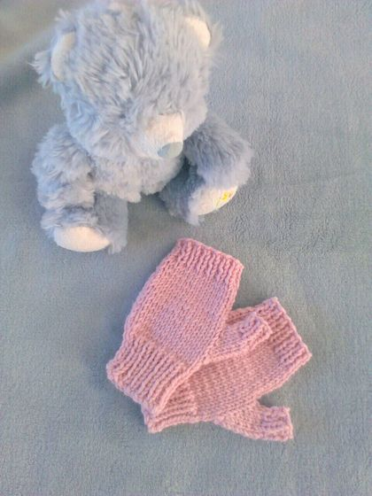 100% Merino Knitted Fingerless Mitts With Thumbs - Small Child