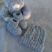 100% Merino Hand Knitted Beanie & Booties 0-3 Months- Silver