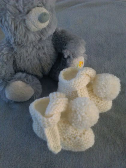 Hand Knitted Merino Booties-Newborn