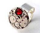 Steampunk Inspired Ring -  Ruby Red Swarovski Cabochon