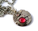 Steampunk Necklace - Brushed Steel & Boysenberry Cabochon