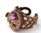 Steampunk Inspired Ring - Red Brass Watch Movement and Swarovski Amethyst