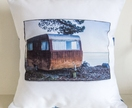 Photographic caravan cushion cover with vintage fabric back