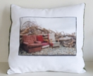 Photographic cushion cover with vintage fabric back. Lazyboys