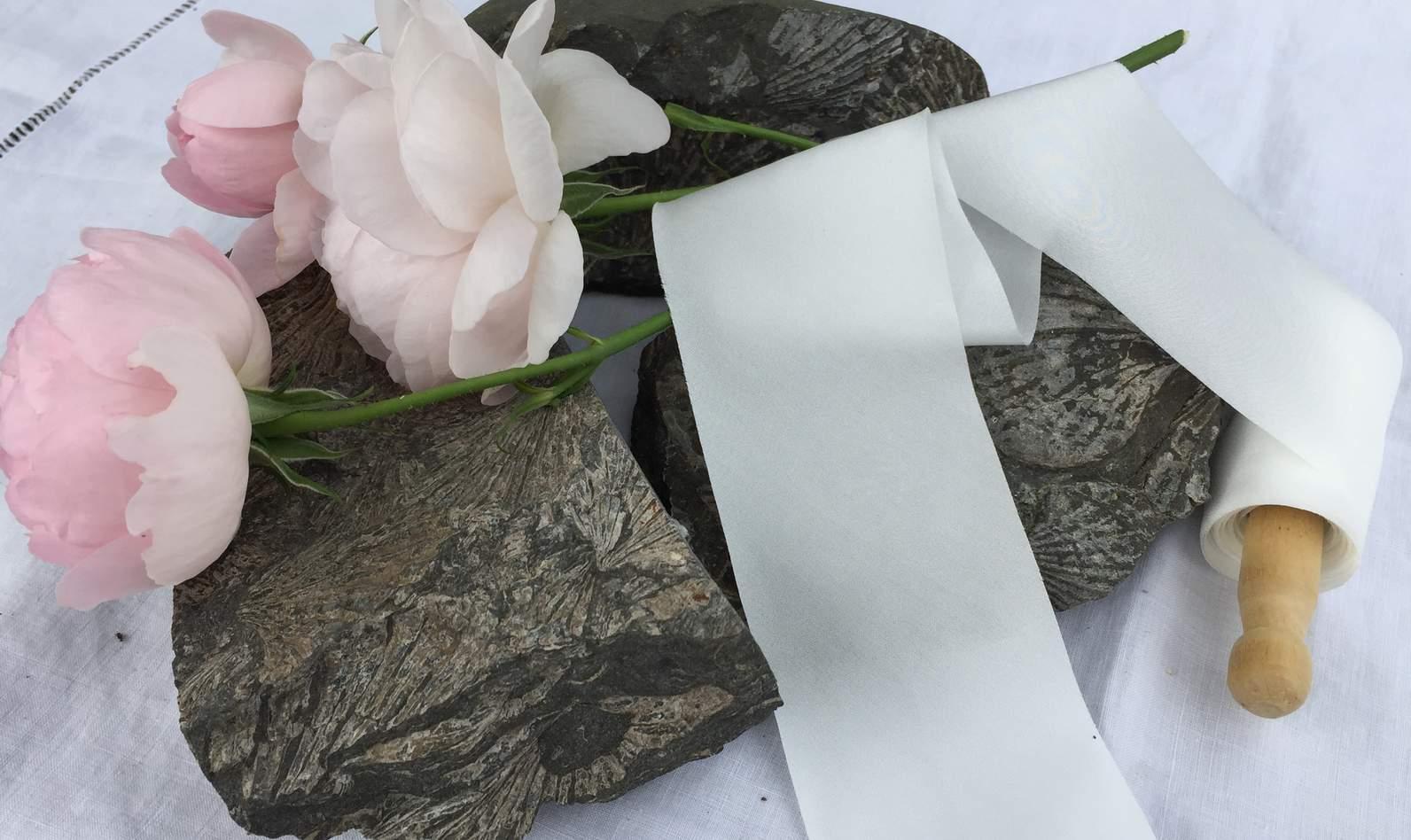 5m Silk Habotai Ribbon White Felt
