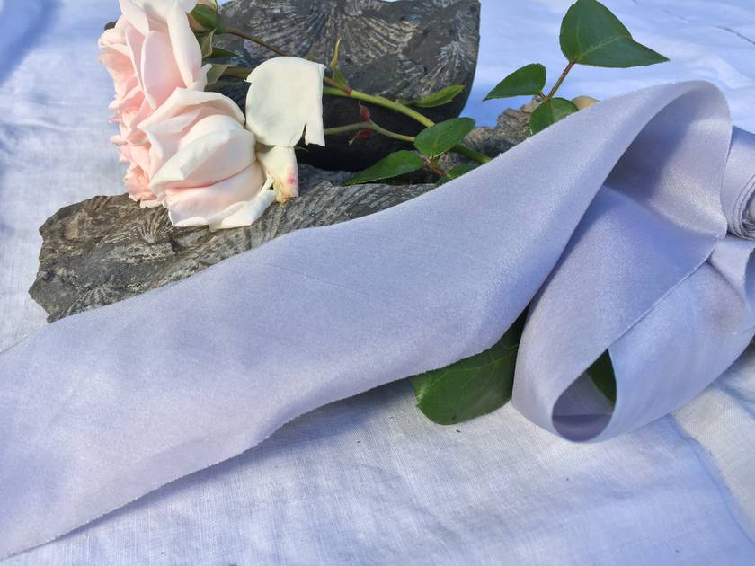 Plant-dyed silk ribbon - Periwinkle