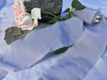 Plant-dyed silk ribbon 3m - Periwinkle