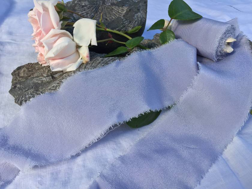 Plant-dyed silk ribbon 5m - Periwinkle