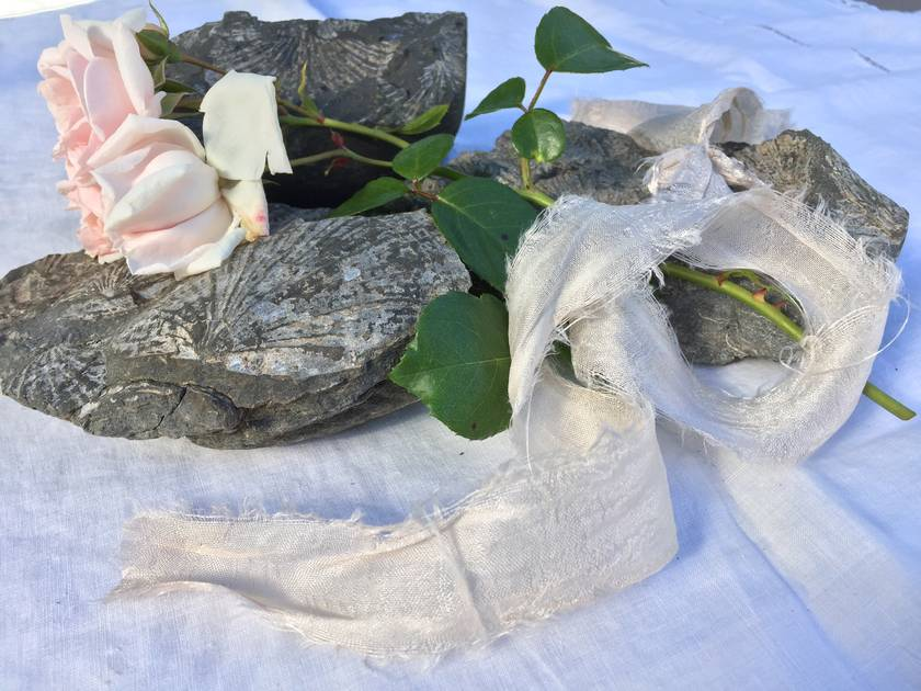 5m plant-dyed recycled silk chiffon ribbon - Blush