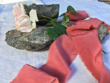 Plant-dyed silk ribbon 5m - Antique Rose