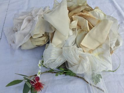 Offcut silk ribbons and scraps - white/cream/gold