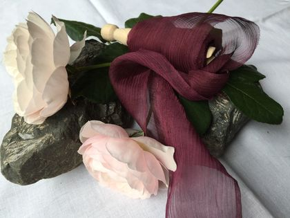 Plant-dyed silk ribbon 3m - Grape