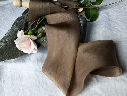 Plant-dyed silk ribbon 3m - Caramel Coffee