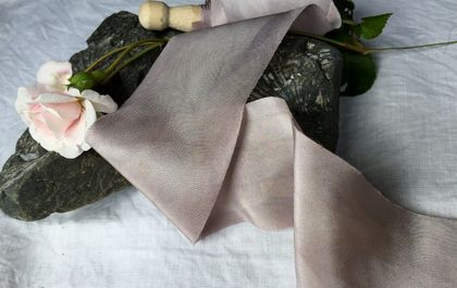Plant-dyed silk ribbon 5m - Ash