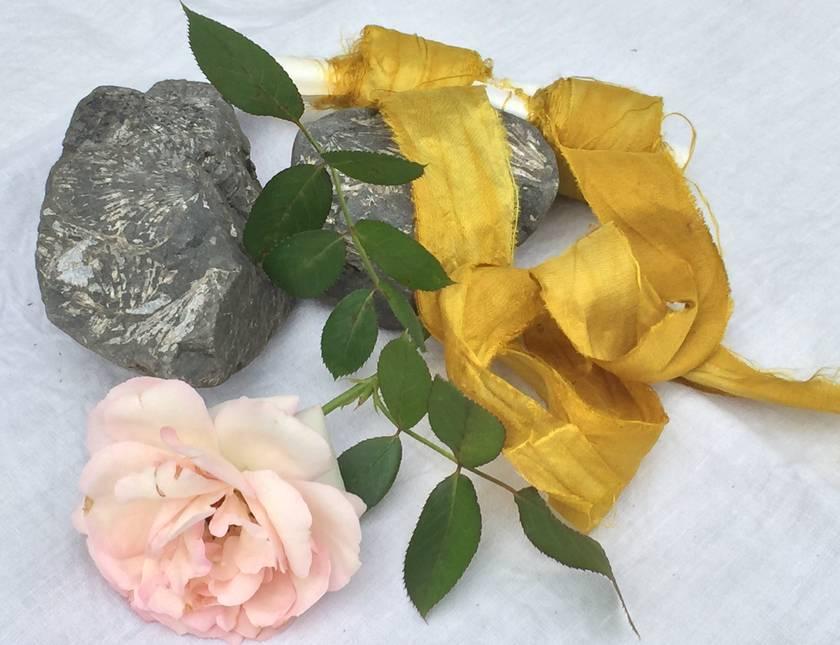 5m plant-dyed recycled sari silk ribbon – Marigold