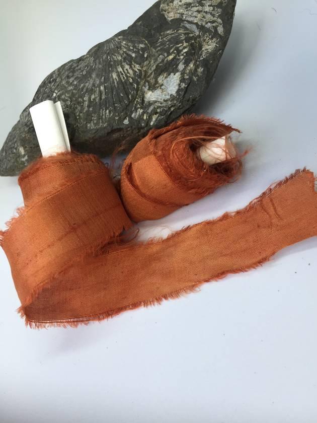 BLOOD ORANGE plant dyed recycled sari silk ribbon