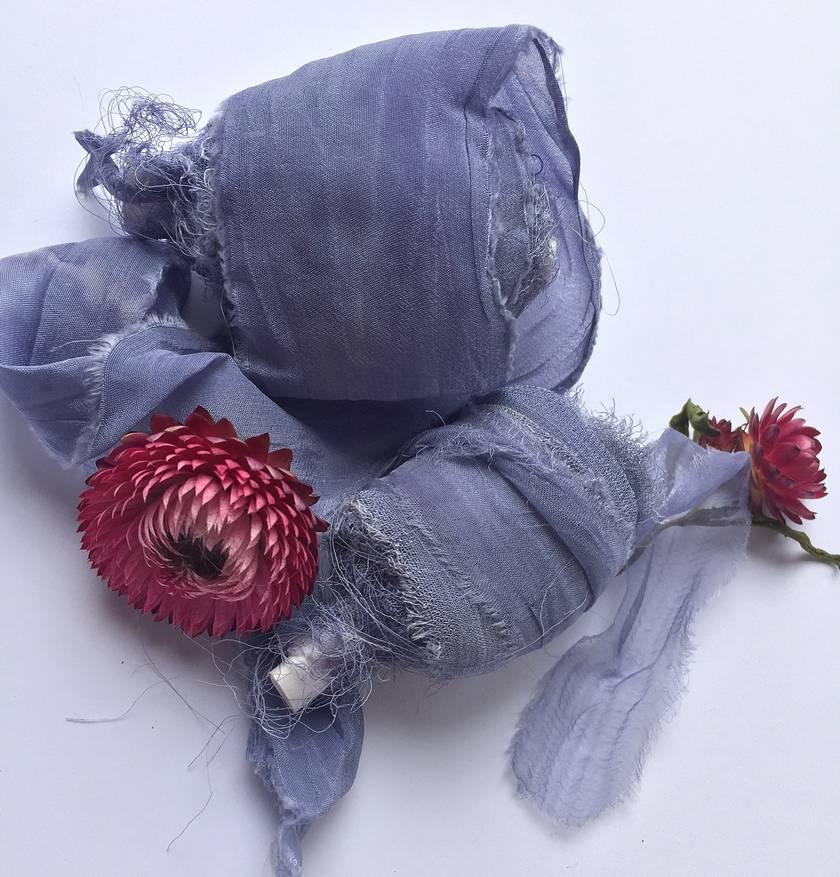 DENIM DREAMS blue plant-dyed recycled silk chiffon ribbon, 5m