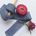 DENIM DREAMS blue pure silk hand-dyed/plant-dyed ribbon, 2.5cm x 5m
