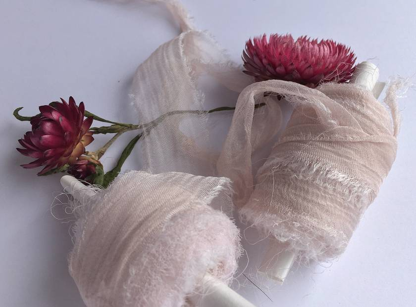 ROSE BLUSH plant-dyed/hand-dyed recycled silk chiffon ribbon, 5m