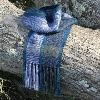 Denim Blue Diamond Alpaca Scarf