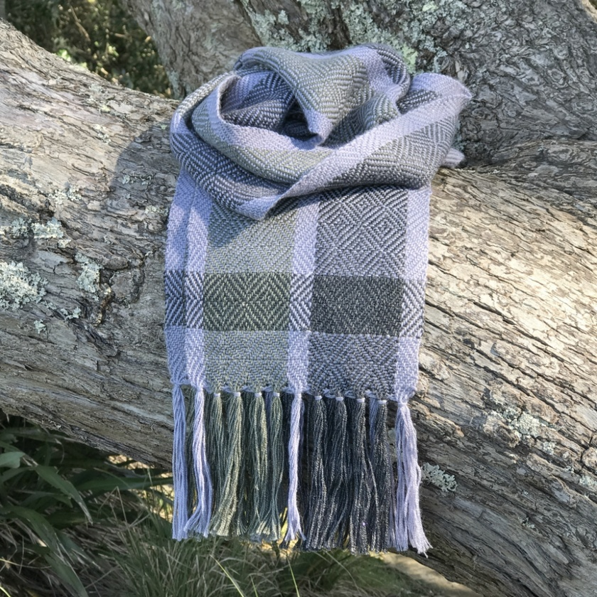 Silver Grey Diamond Alpaca Scarf
