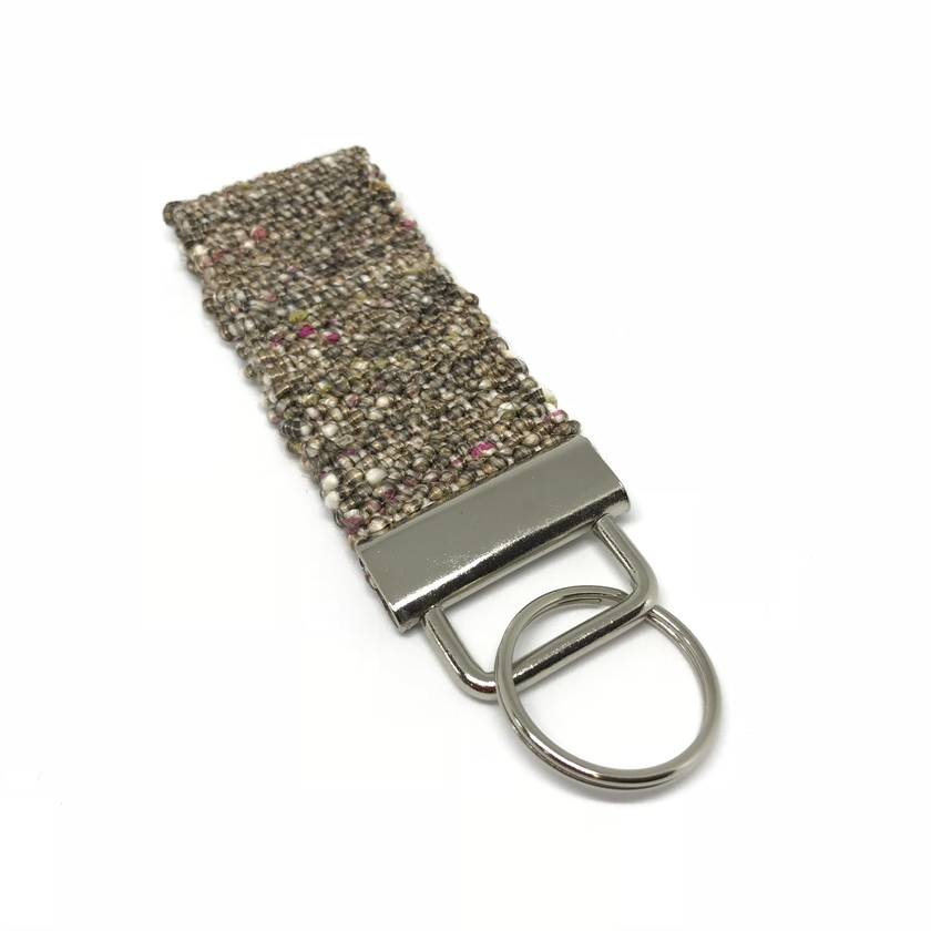 Gold Key Chain-Fob-Ring-Tag - Woven from Italian Cotton