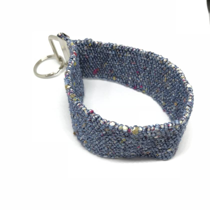 Blue Wristlet Key Fob-Ring
