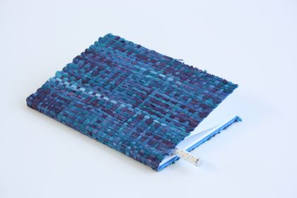 Blue Notebook with Paper Raffia Handwoven Cover