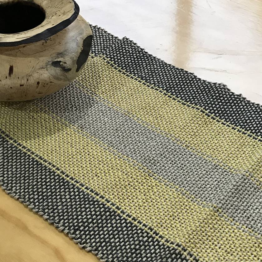 CLEARANCE SALE Yellow and Grey Table Runner - Hand Woven From Rustic Jute & Linen