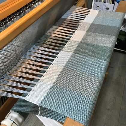 Handwoven Blanket or Cuddle Rug in Blue