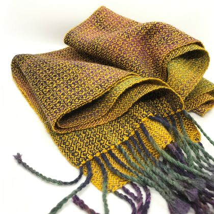 Tarnished Gold Silk Merino Handwoven Scarf